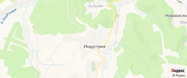 Карта поселка Индустрии города Кисловодска в Ставропольском крае с улицами и номерами домов