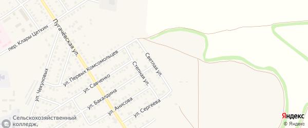 Светлая улица на карте Новоаннинского с номерами домов