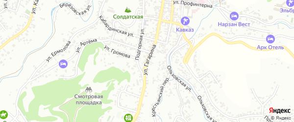 Улица Гагарина на карте Кисловодска с номерами домов