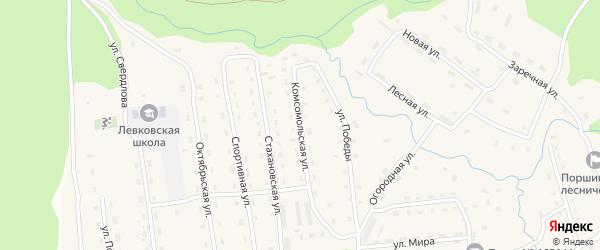 Комсомольская улица на карте поселка Пасьвы с номерами домов