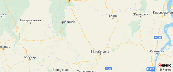 Карта Новоаннинского района Волгоградской области с городами и населенными пунктами