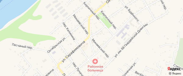Минаевский переулок на карте Серафимовича с номерами домов