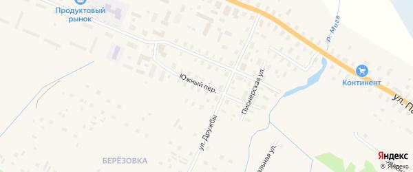 Южный переулок на карте поселка Березника Архангельской области с номерами домов