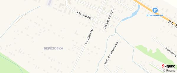 Улица Дружбы на карте поселка Березника Архангельской области с номерами домов