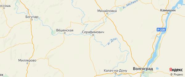 Карта Серафимовичского района Волгоградской области с городами и населенными пунктами