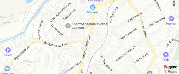 Казачий переулок на карте Кисловодска с номерами домов