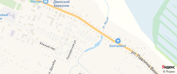 Восточный переулок на карте поселка Березника Архангельской области с номерами домов