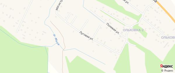 Луговая улица на карте поселка Березника Архангельской области с номерами домов