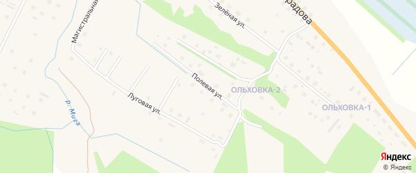 Полевая улица на карте поселка Березника Архангельской области с номерами домов