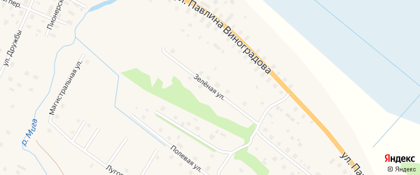 Зелёная улица на карте поселка Березника с номерами домов