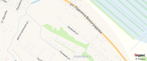 Зелёная улица на карте поселка Березника Архангельской области с номерами домов