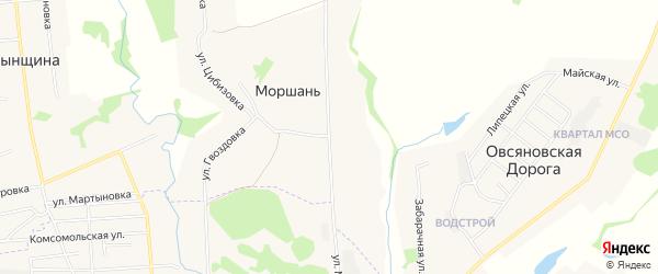 Карта поселка Моршань в Тамбовской области с улицами и номерами домов
