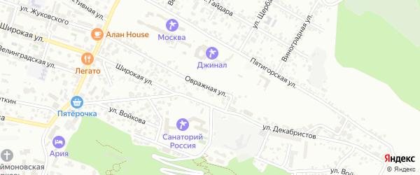 Овражная улица на карте Кисловодска с номерами домов