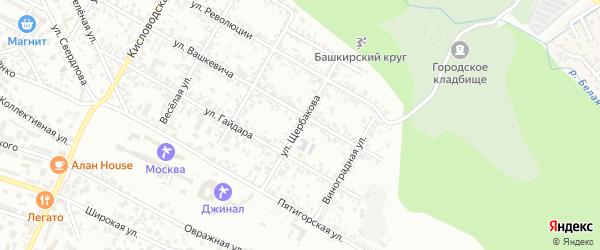 Улица Щербакова на карте Кисловодска с номерами домов