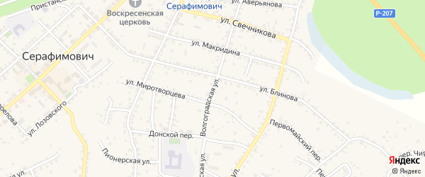 Волгоградская улица на карте Серафимовича с номерами домов