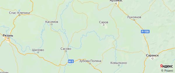 Карта Теньгушевского района Республики Мордовии с городами и населенными пунктами