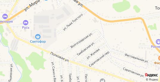 Волгоградская улица в Кирсанове с номерами домов на карте. Спутник и схема онлайн