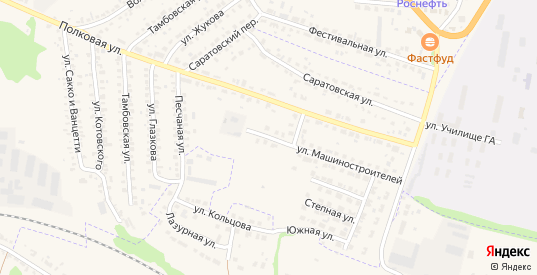 Снежный переулок в Кирсанове с номерами домов на карте. Спутник и схема онлайн