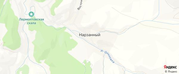 Карта Нарзанного поселка города Кисловодска в Ставропольском крае с улицами и номерами домов