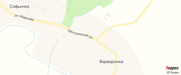 Центральная улица на карте деревни Варваринки Тамбовской области с номерами домов
