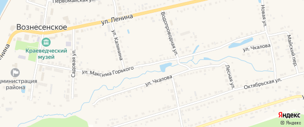 Улица Горького на карте поселка Вознесенского Нижегородской области с номерами домов