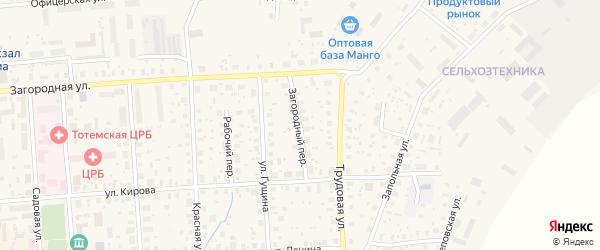 Загородный переулок на карте Тотьмы с номерами домов