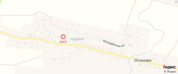 Молодежная улица на карте деревни Осиново Архангельской области с номерами домов