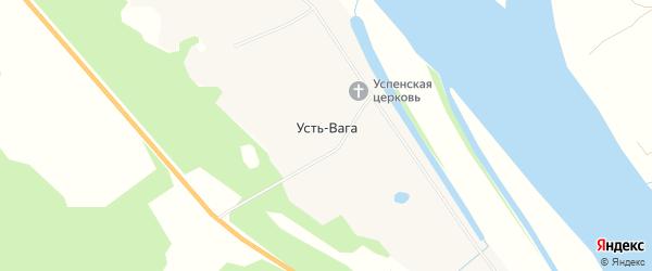 Карта деревни Усть-Ваги в Архангельской области с улицами и номерами домов