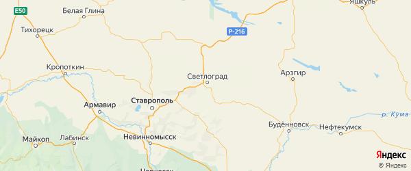 Карта Петровского района Ставропольского края с городами и населенными пунктами