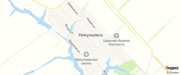 Карта села Никульевка в Пензенской области с улицами и номерами домов