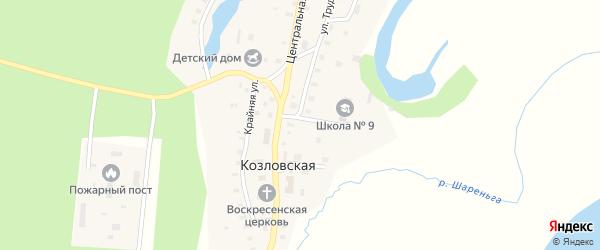Школьный переулок на карте Козловской деревни Архангельской области с номерами домов