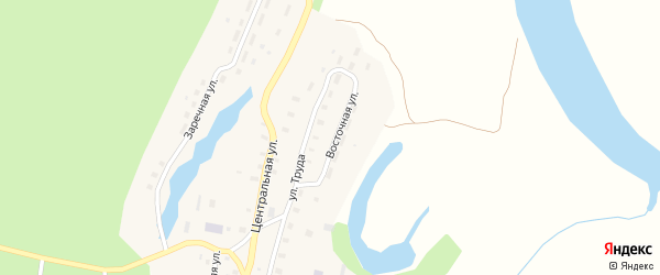 Восточная улица на карте Козловской деревни Архангельской области с номерами домов