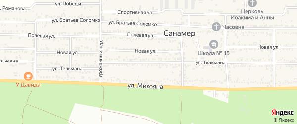 Улица Тельмана на карте поселка Санамер Ставропольского края с номерами домов