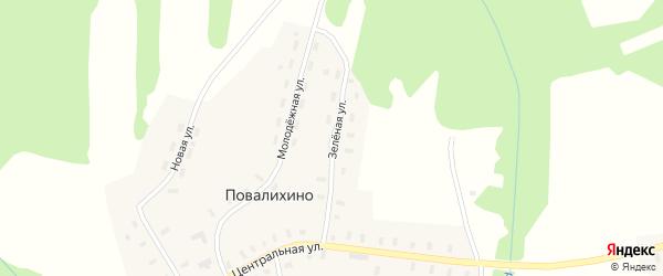 Зеленая улица на карте деревни Повалихино Костромской области с номерами домов