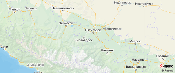 Карта Предгорного района Ставропольского края с городами и населенными пунктами
