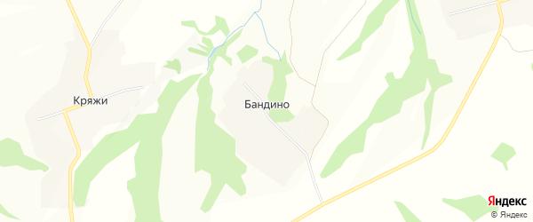 Карта деревни Бандино в Нижегородской области с улицами и номерами домов