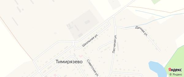 Школьная улица на карте села Тимирязево Пензенской области с номерами домов