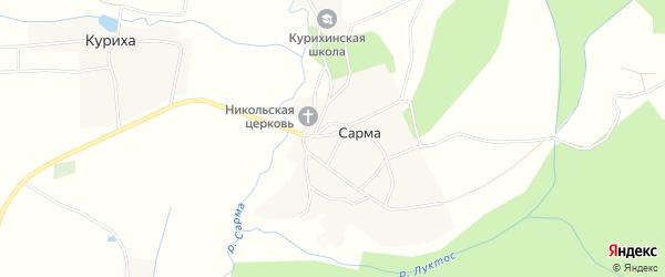 Карта деревни Сармы в Нижегородской области с улицами и номерами домов