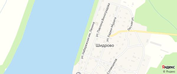 Улица Набережная имени Ленина на карте поселка Шидрово Архангельской области с номерами домов