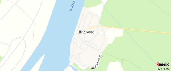 Карта поселка Шидрово в Архангельской области с улицами и номерами домов