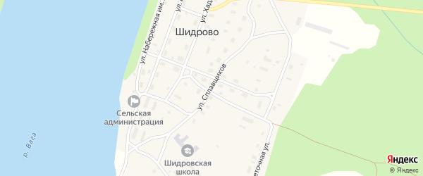 Улица Сплавщиков на карте поселка Шидрово Архангельской области с номерами домов