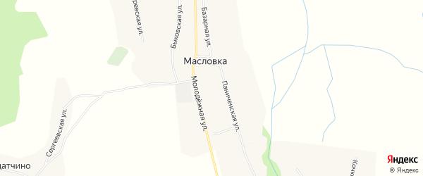 Карта села Масловки в Тамбовской области с улицами и номерами домов