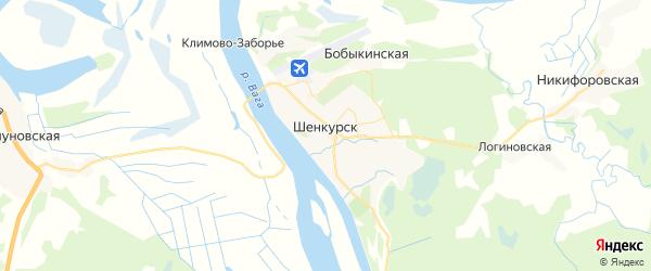Карта Шенкурска с районами, улицами и номерами домов