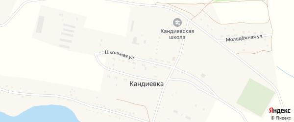 Школьная улица на карте села Кандиевки Пензенской области с номерами домов