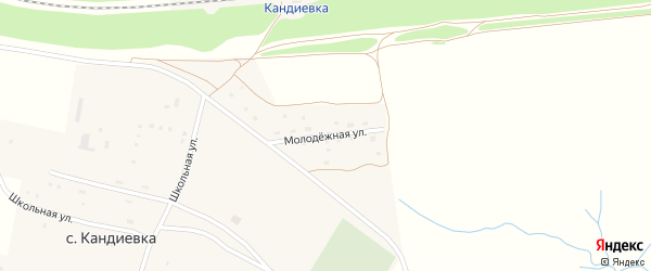 Молодежная улица на карте села Кандиевки Пензенской области с номерами домов