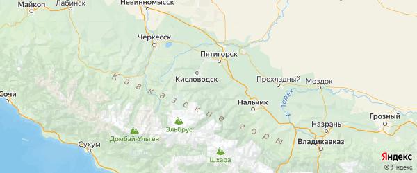 Карта Зольского района Республики Кабардино-Балкарии с городами и населенными пунктами