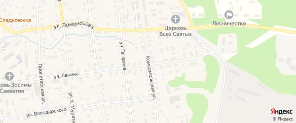Комсомольская улица на карте Шенкурска с номерами домов