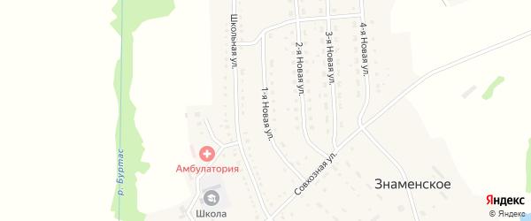 1-Новая улица на карте Знаменского села Пензенской области с номерами домов