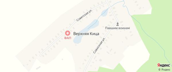 Заречная улица на карте деревни Верхней Кица Архангельской области с номерами домов