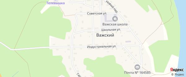 Новый переулок на карте Важский поселка Архангельской области с номерами домов